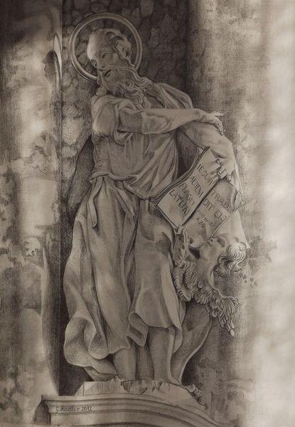 Schloßau, Mosbach, Mudau, Nok, Bleistiftzeichnung, Skulptur