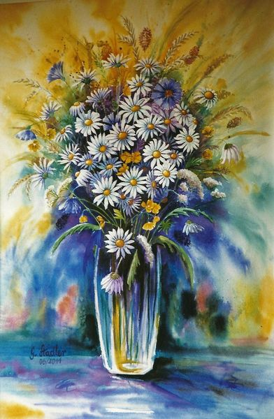 Sommerblumen, Weizen, Mudau, Nok, Feldblumen, Aquarellmalerei