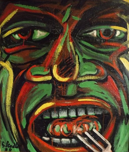 Ölmalerei, Mudau, Nok, Expressionismus, Gier, Kulturellewohltat