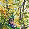 Aquarellmalerei, Jahreszeiten, Herbst, Landschaft