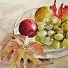 Obst, Stillleben, Aquarellmalerei, Weintrauben