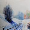 Verschneien, Winter, Baum, Aquarellmalerei