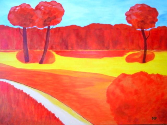 Weg, Naive kunst, Landschaft, Baum, Malerei