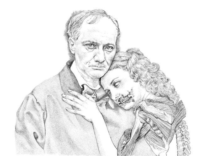 Menschen, Baudelaire, Tusche, Portrait, Vampir, Schwarz weiß