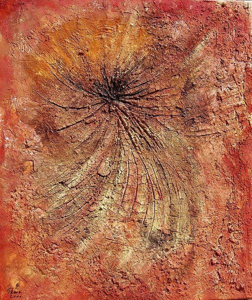 Spachteltechnik, Marmormehl, Pigmente, Malerei, Abstrakt, Loch