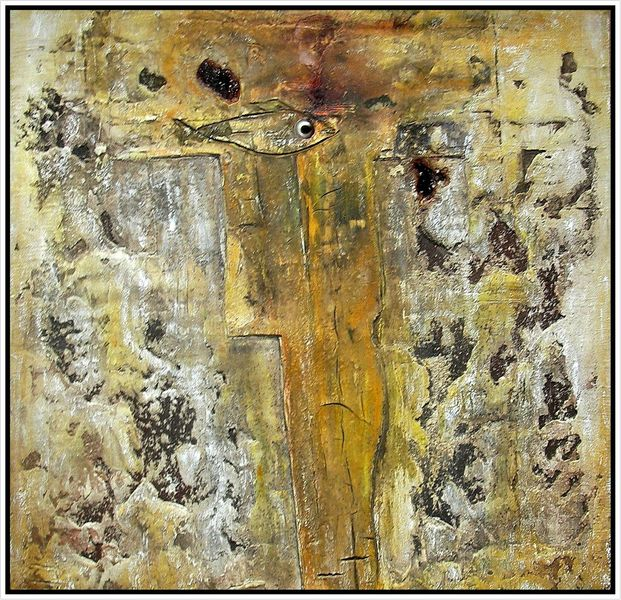 Ölmalerei, Spachteltechnik, Abstrakt, Sand, Ohne titel, Beize