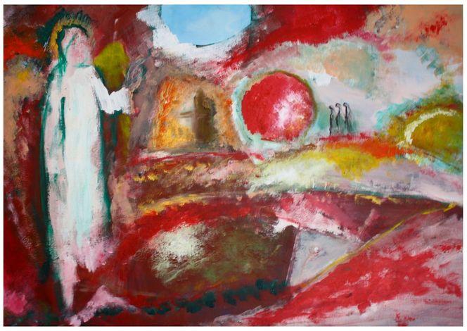 Grab, Fisch, Auferstehung, Engel, Frau, Malerei