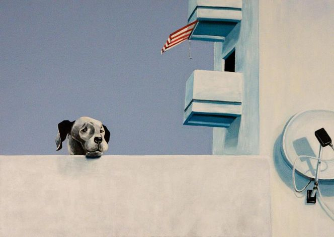 gro er hund balkon hund terrasse lmalerei von susanne memmert bei kunstnet. Black Bedroom Furniture Sets. Home Design Ideas