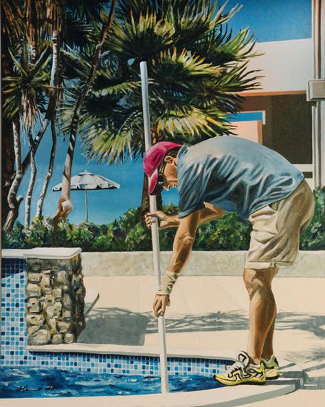 Mann, Sommer, Palmen, Wasser, Arbeiten, Reinigung