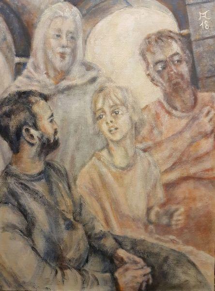 Jesus, Tempel, Licht, Ocker, Malerei