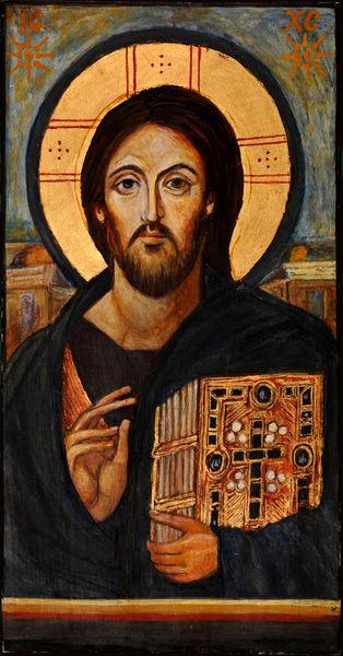 Pantokrator, Katharinenkloster, Christus pantokrator, Autoritärer blick rechts, Macht, Temperamalerei