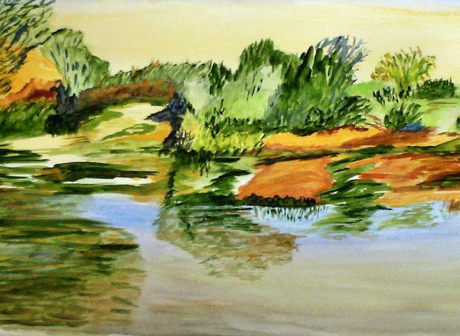Landschaft, Natur, Wasser, Aquarell, Serie