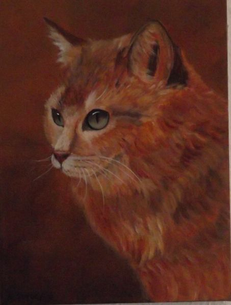 Tiere, Natur, Malerei, Katze