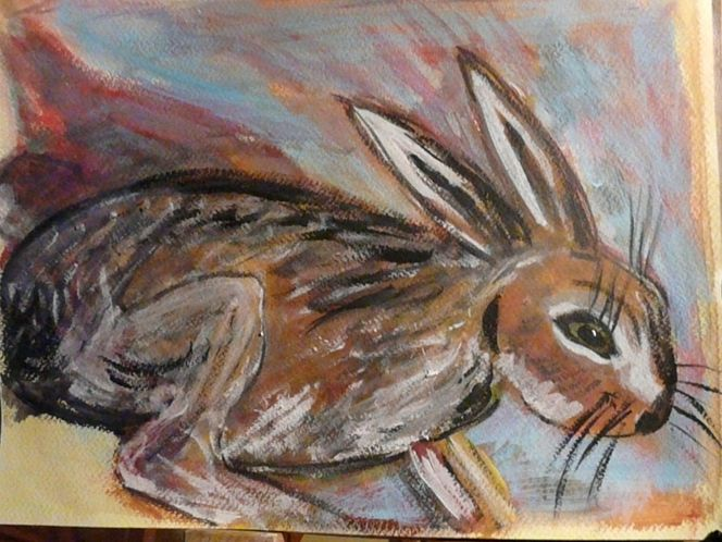 Expressionismus, Tiere, Hase, Acrylmalerei, Kaninchen, Malerei