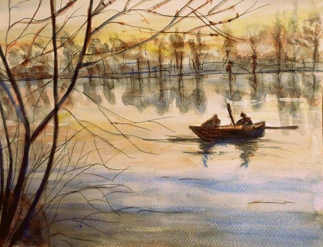 Abendlicht, Boot, Aquarellmalerei, Nach dowden, Dämmerung, Landschaft