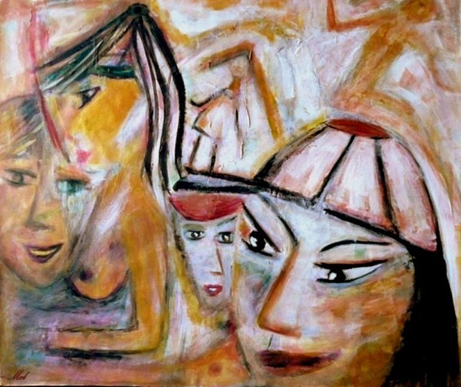 Bevölkerung, Malerei, Übervölkerung, Acrylmalerei, Menschen, Vielschichtig