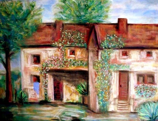 Haus, Blau, Sommer, Landschaft, Natur, Tuch