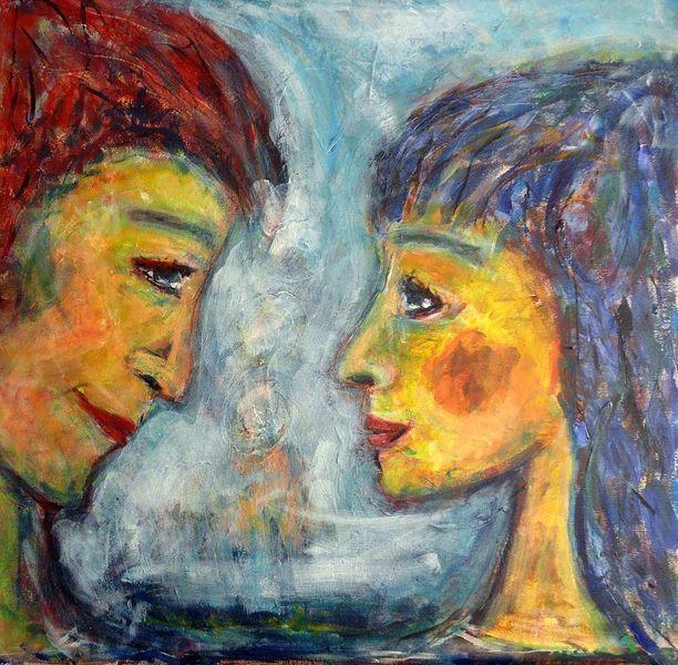 Expressionismus, Paar, Mann, Frau, Einklang, Malerei