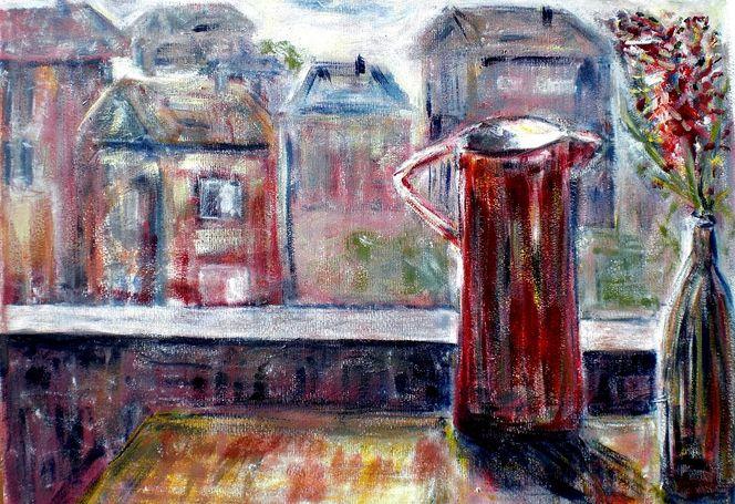 Balkon, Krug, Ausblick, Blick, Malerei, Stillleben