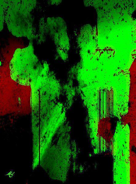 Andeutung, Drachenbeschwörer, Fantasie, Mann, Aquarell digitalisiert, Rot