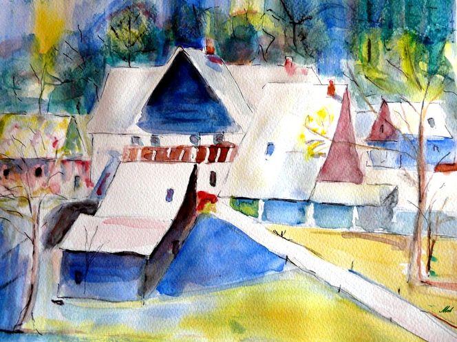 Baum, Aquarellmalerei, Wald, Abstrakt, Weg, Dorf