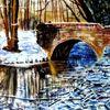 Winter, Aquarellmalerei, Bach, Brücke