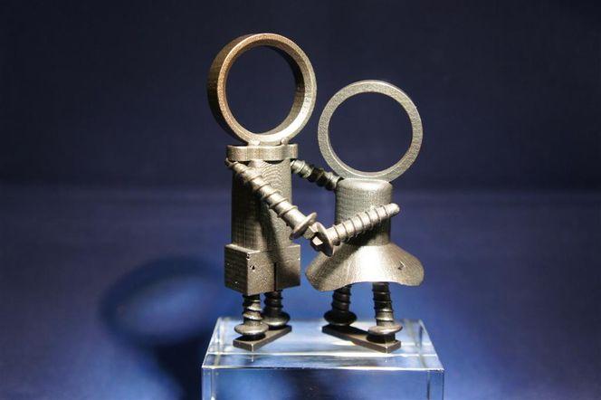 Liebe, Paar, Schrott, Metall, Skulptur, Tanz