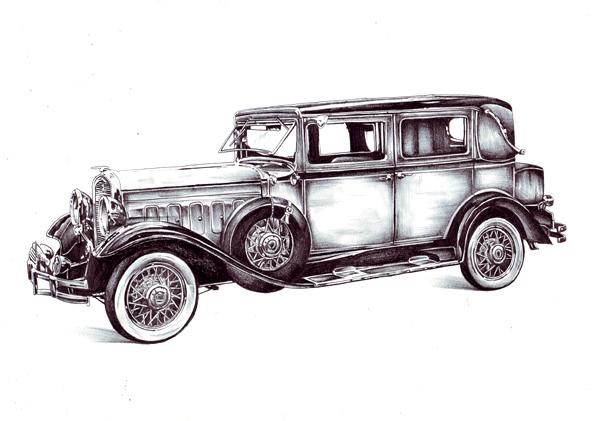 Hudson 8, Alt, Auto, Zeichnungen, Stillleben