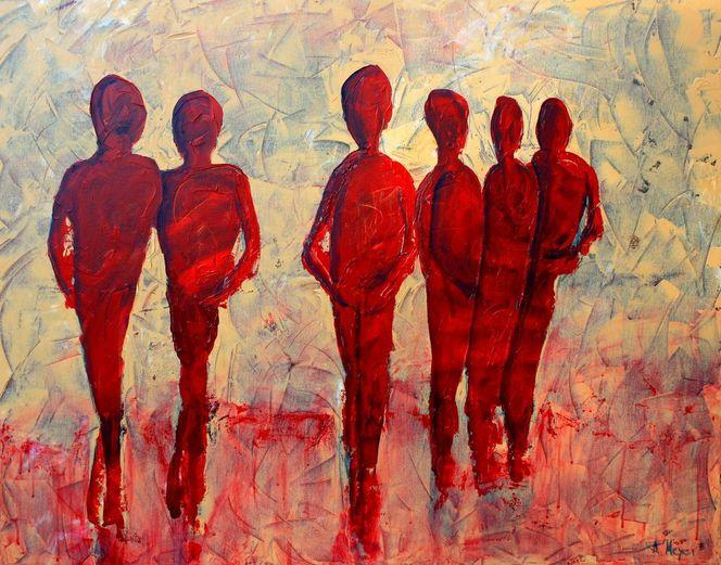 Einsamkeit, Gruppe, Partnerschaft, Paar, Gemeinsam, Menschen