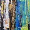 Malerei, Abstrakt, Schwarz, Blau