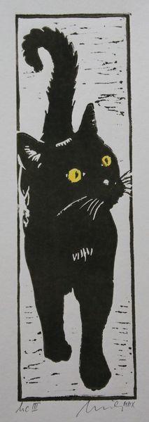 Hochdruck, Schwarz, Katze, Druckgrafik, Linolschnitt