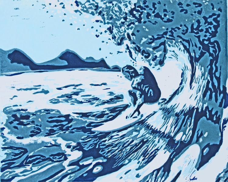 Sommer, Surfen, Linoldruck, Hochdruck, Wasser, Blockprint