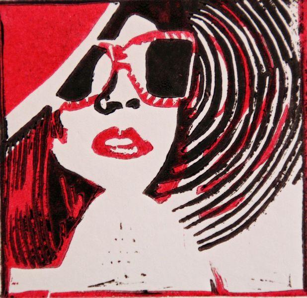 Lippen, Farblinolschnitt, Grafik, Rot schwarz, Sonnenbrille, Hochdruck