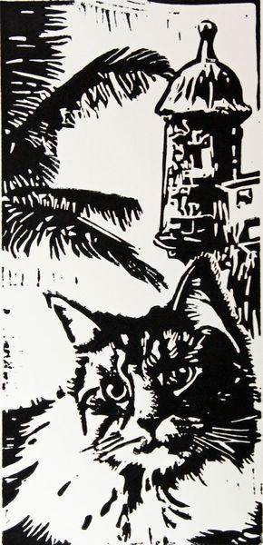 Hochdruck, Puerto rico, Katze, Linolcut, Hell dunkel kontrast, Linoldruck