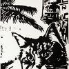 Schwarz weiß, Linoldruck, Hochdruck, Katze
