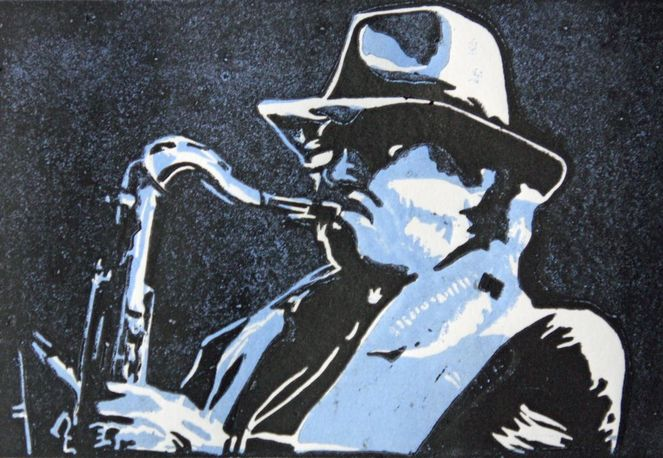 Jazz, Saxofon, Druckgrafik, Musiker, Cool