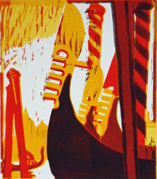 Farblinoldruck, Venedig, Farblinolschnitt, Canal grande, Druckgrafik, Hochdruck