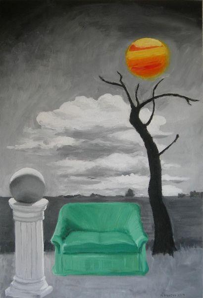 Arrangement, Gemälde, Fusion, Landschaft, Malerei, Rückkehr