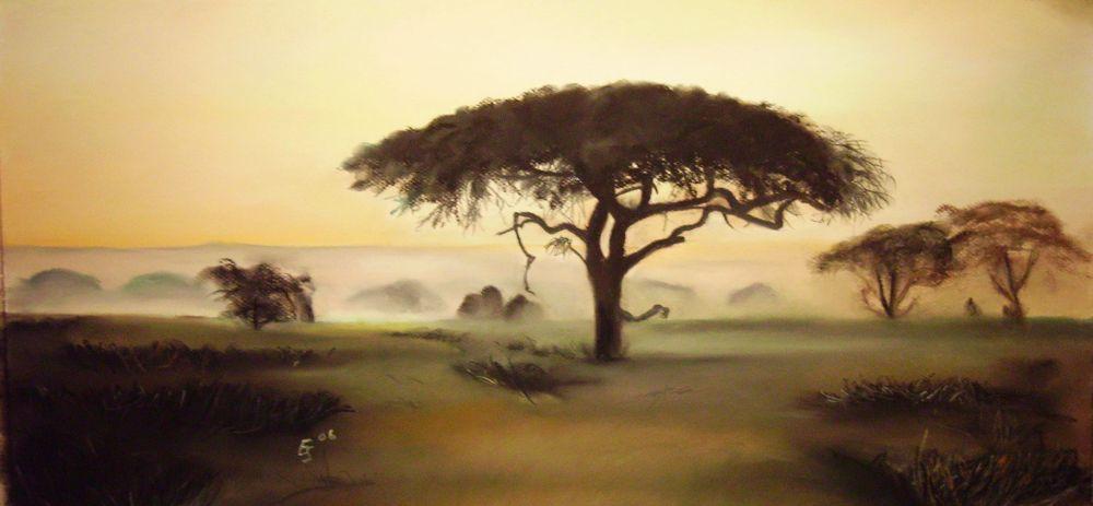 Landschaftsmalerei barock  Bild: Afrika, Landschaftsmalerei, Pastellmalerei, Landschaft von ...