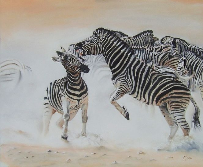 Tierwelt, Tiermalerei, Tiere, Zebrastreifen, Malerei
