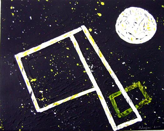 bild muell im weltall collage schwarz gelb von martin mehrgani bei kunstnet. Black Bedroom Furniture Sets. Home Design Ideas