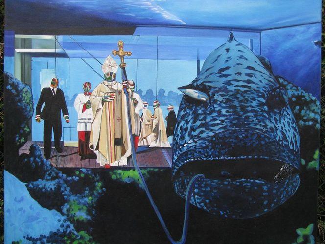Universum, Luxus, Collage, Papst, Malerei, Unterwasserwelt