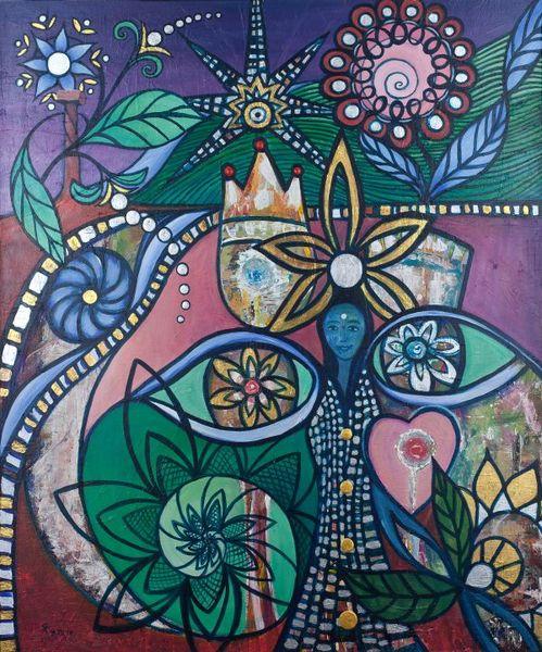 Blüte, Gold, Acrylmalerei, Begegnung, Liebe, Augen