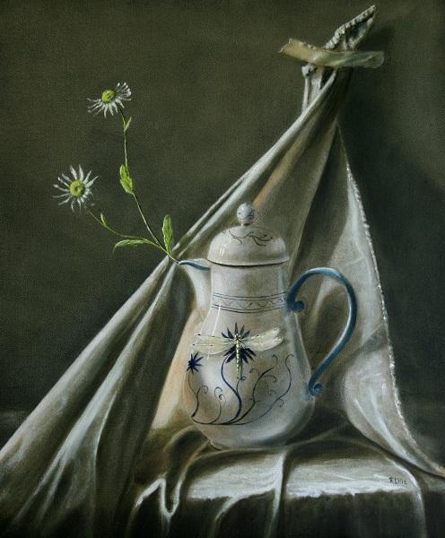 Tuch, Blumen, Kanne, Libelle, Malerei, Pflanzen
