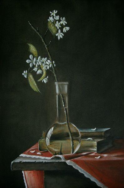Wasser, Stein, Kirschblüten, Tisch, Buch, Realismus