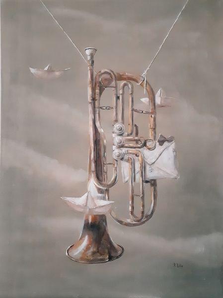 Traum, Tuba, Brief, Papier schiffchen, Wolken, Malerei
