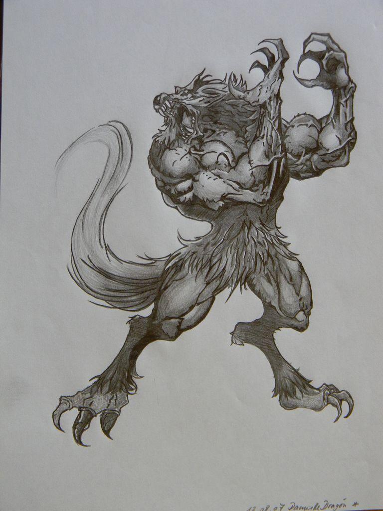 Werwolf Fantasie Bleistiftzeichnung Wolf Mystik Von Kaylua Bei