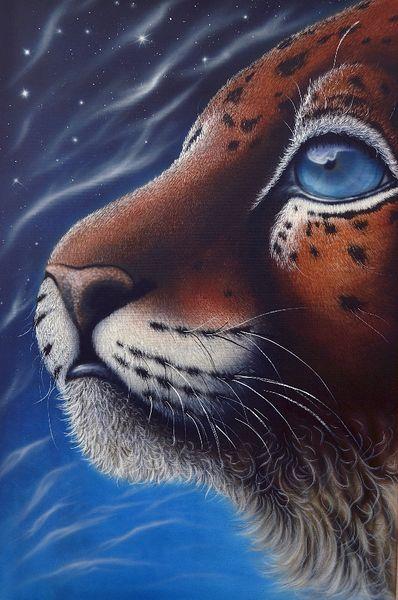 Fotorealismus raubkatze leoparden, Baby, Allein, Sucheweite, Malerei, Menschen