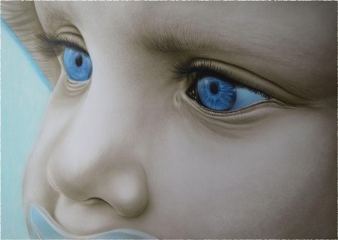Kind, Baby, Airbrush, Realismus, Große ansicht, Blaue augen