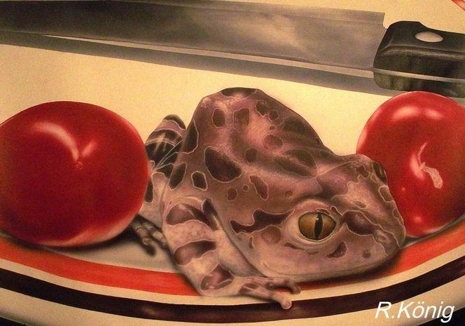 Tiere, Illustration, Frosch, Kroenigart, Essen, Selten